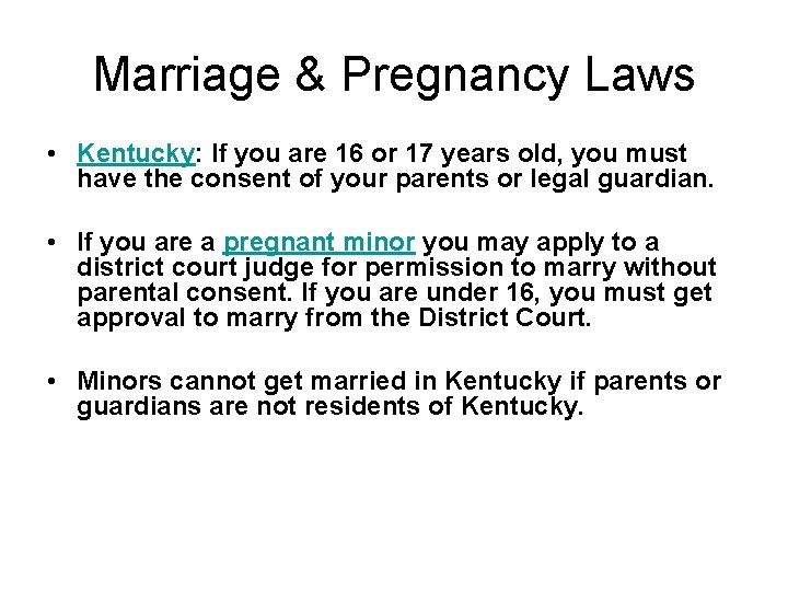 Kentucky minor laws for sex acts