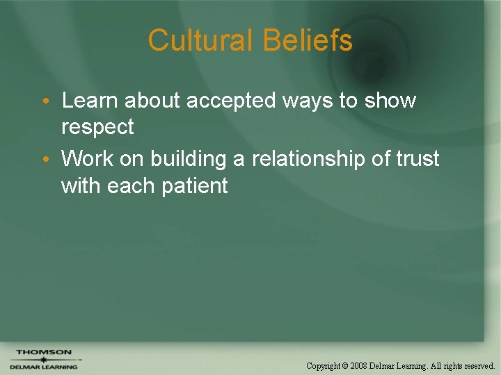 Cultural Beliefs • Learn about accepted ways to show respect • Work on building