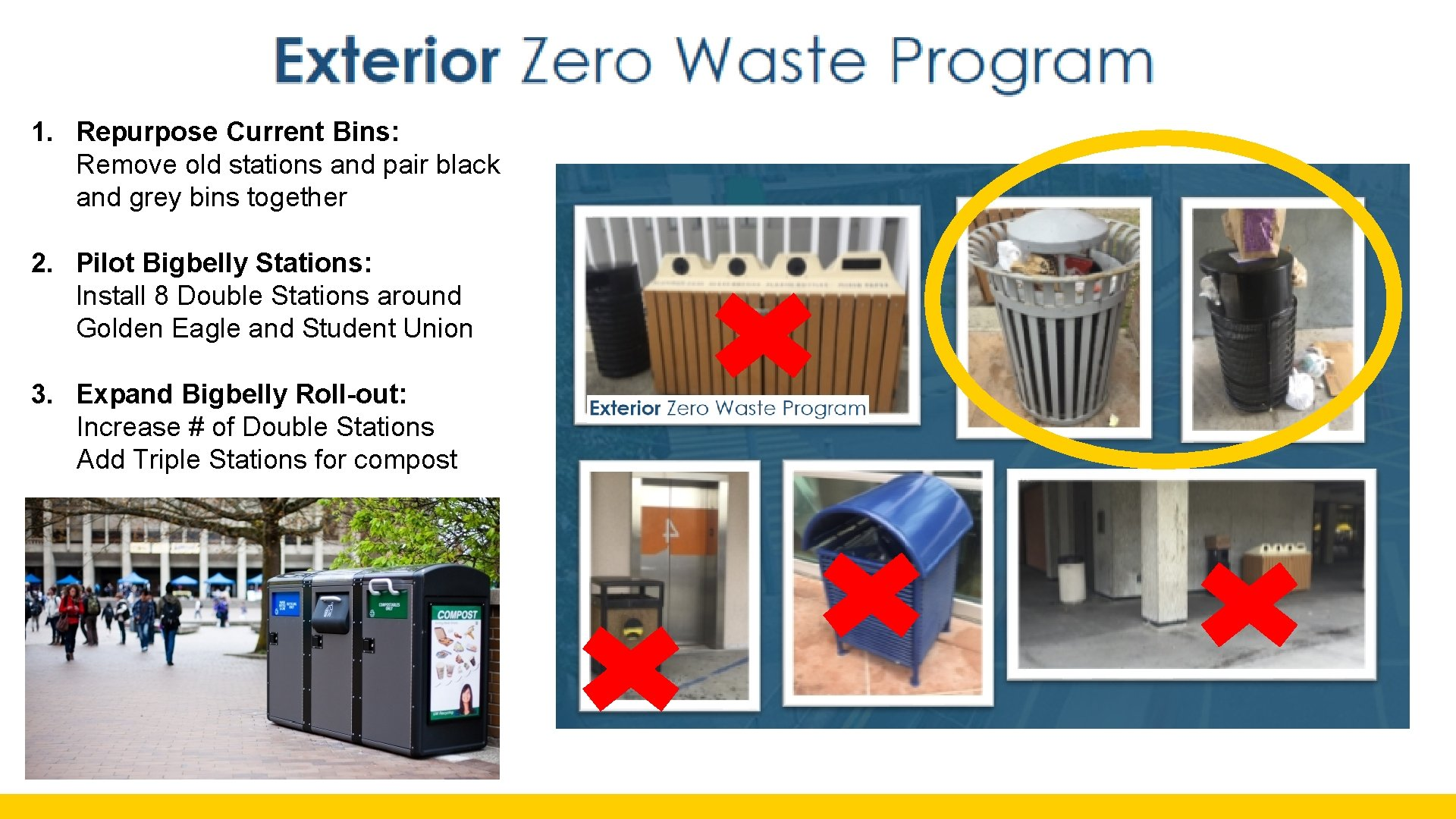 1. Repurpose Current Bins: Remove old stations and pair black and grey bins together