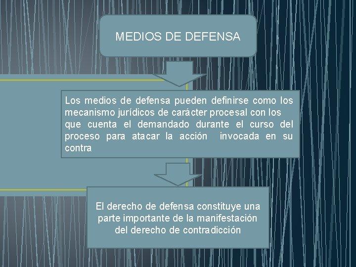MEDIOS DE DEFENSA Los medios de defensa pueden definirse como los mecanismo jurídicos de