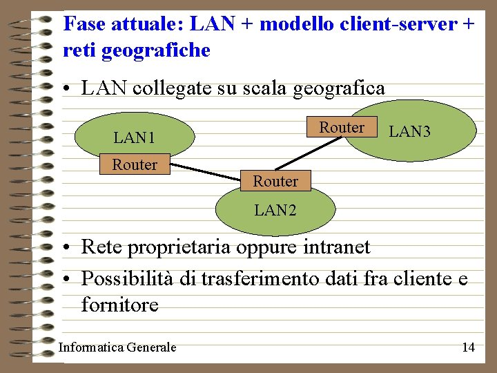 Fase attuale: LAN + modello client-server + reti geografiche • LAN collegate su scala