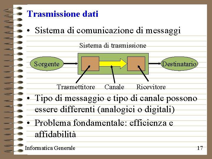 Trasmissione dati • Sistema di comunicazione di messaggi Sistema di trasmissione Sorgente Trasmettitore Destinatario