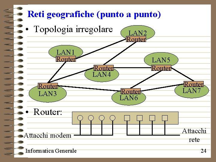 Reti geografiche (punto a punto) • Topologia irregolare LAN 2 Router LAN 1 Router