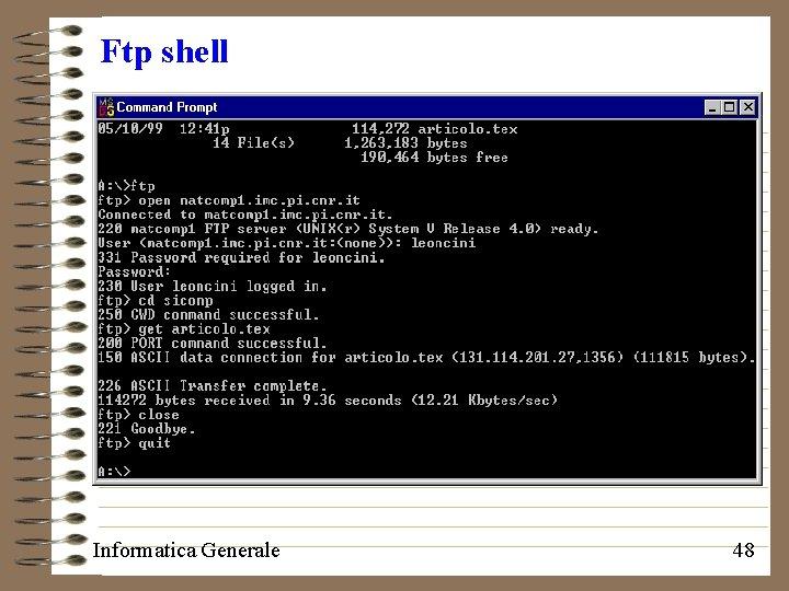 Ftp shell Informatica Generale 48