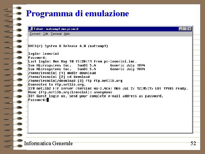 Programma di emulazione Informatica Generale 52