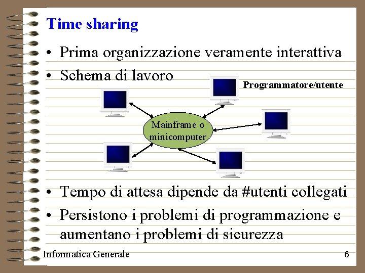 Time sharing • Prima organizzazione veramente interattiva • Schema di lavoro Programmatore/utente Mainframe o