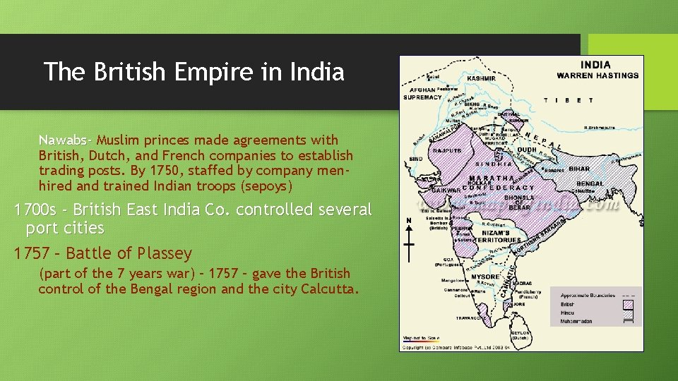 The British Empire in India Nawabs- Muslim princes made agreements with British, Dutch, and