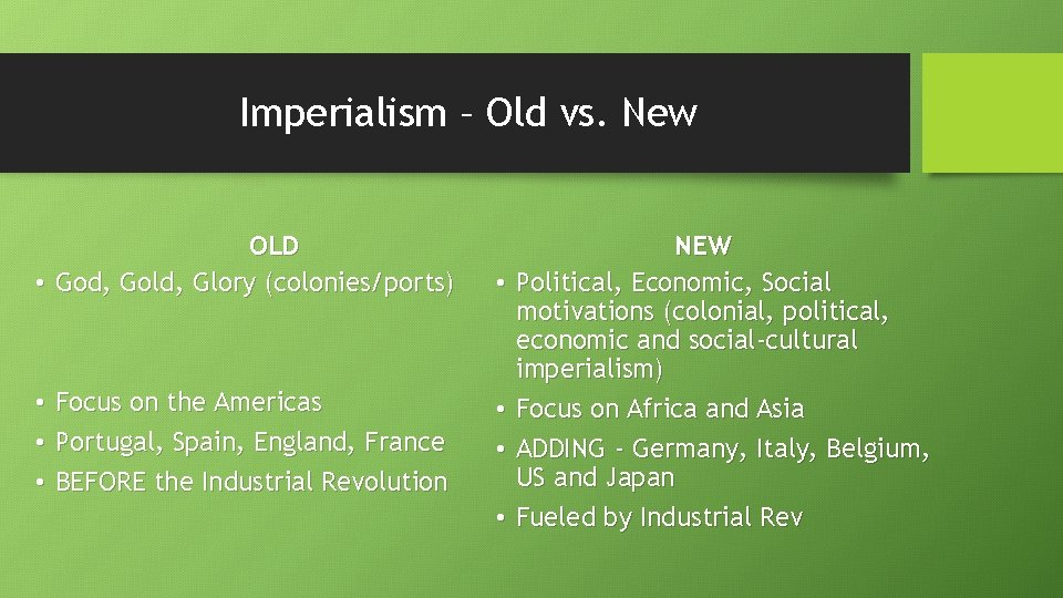 Imperialism – Old vs. New OLD • God, Gold, Glory (colonies/ports) • Focus on