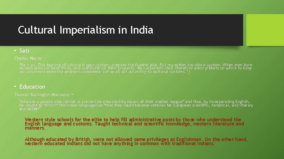 """Cultural Imperialism in India • Sati Charles Napier – """"Be it so. This burning"""
