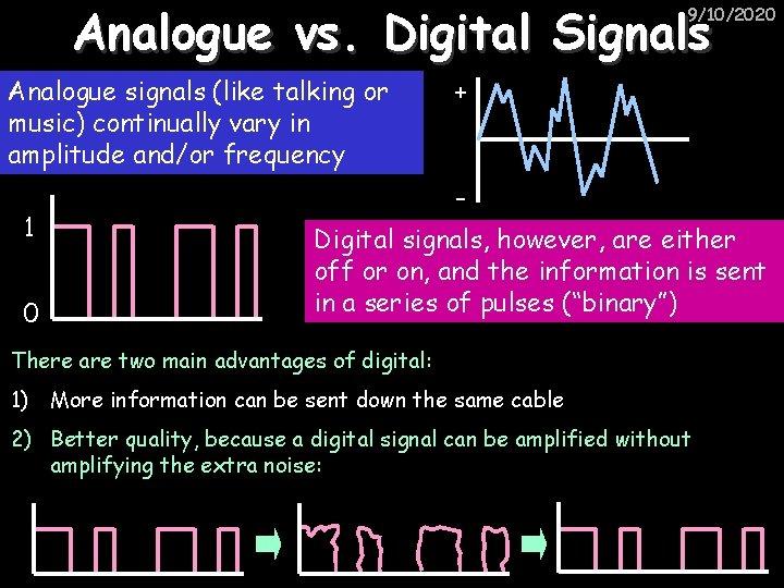 Analogue vs. Digital Signals 9/10/2020 Analogue signals (like talking or music) continually vary in