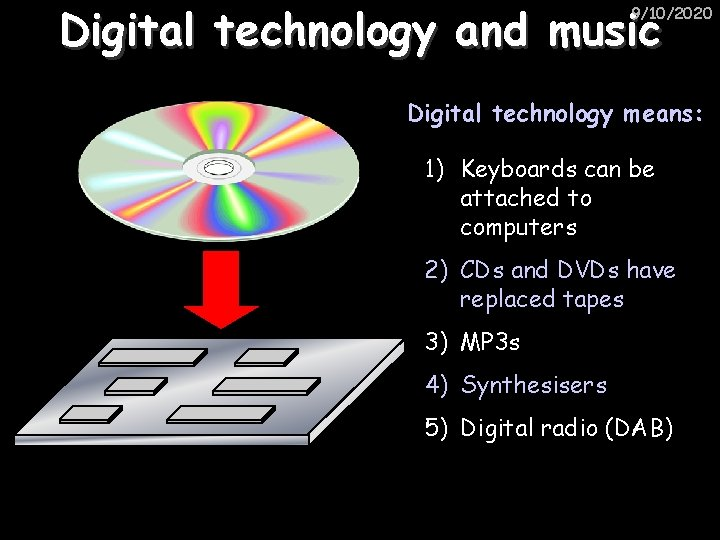 Digital technology and music 9/10/2020 Digital technology means: 1) Keyboards can be attached to