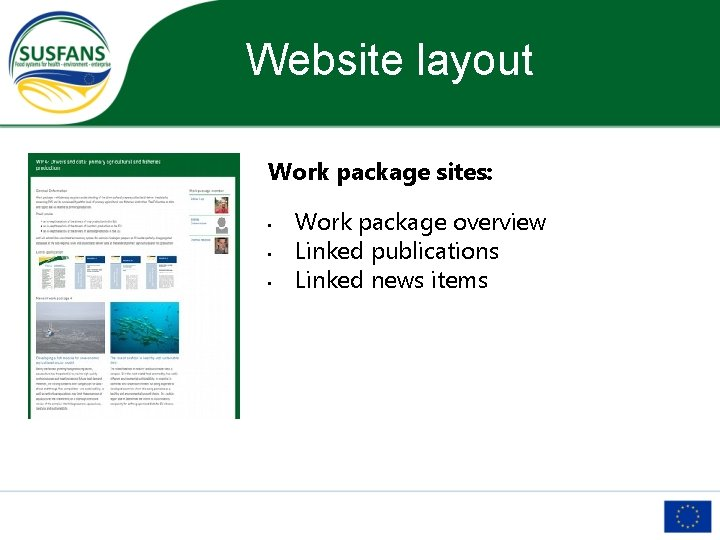 Website layout Work package sites: • • • Work package overview Linked publications Linked