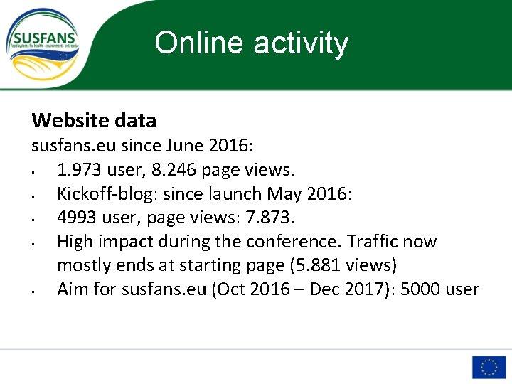 Online activity Website data susfans. eu since June 2016: • 1. 973 user, 8.