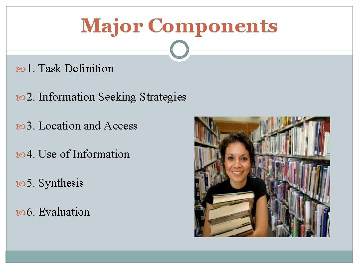 Major Components 1. Task Definition 2. Information Seeking Strategies 3. Location and Access 4.