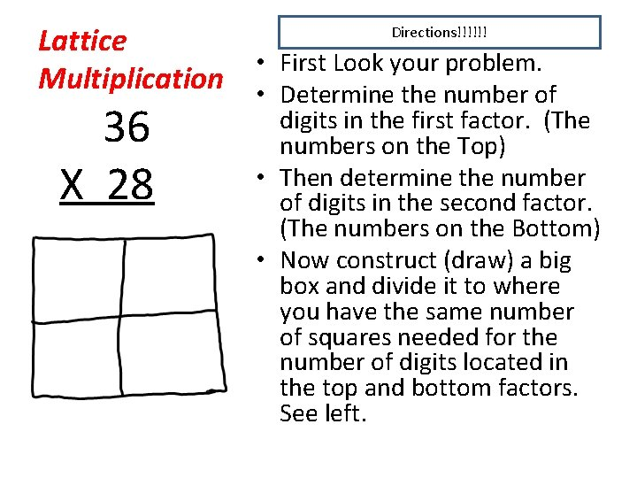 Lattice • First Look your problem. Multiplication • Determine the number of Directions!!!!!! 36
