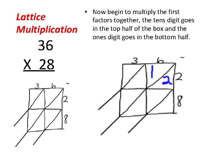 Lattice Multiplication 36 X 28 • Now begin to multiply the first factors together,