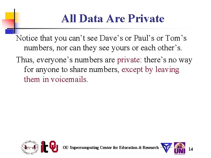 All Data Are Private Notice that you can't see Dave's or Paul's or Tom's
