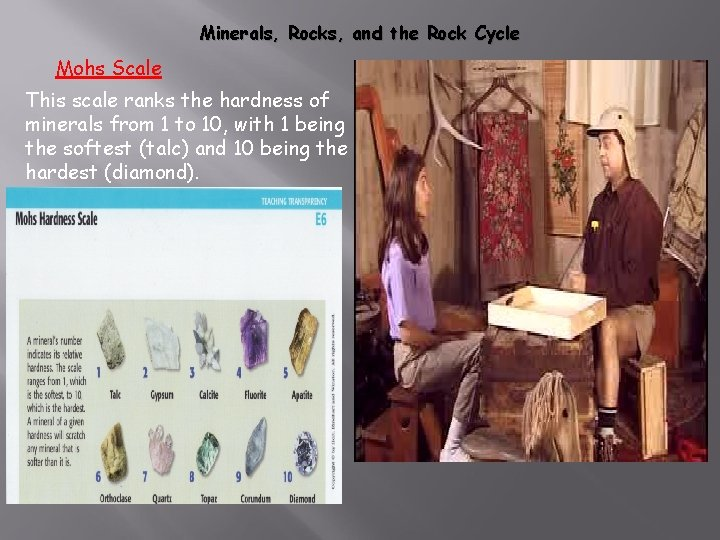 Minerals, Rocks, and the Rock Cycle Mohs Scale This scale ranks the hardness of