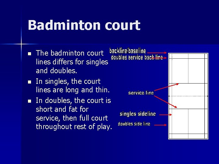 Badminton court n n n The badminton court lines differs for singles and doubles.