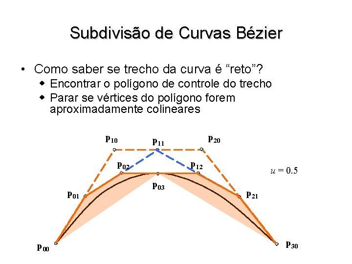 """Subdivisão de Curvas Bézier • Como saber se trecho da curva é """"reto""""? w"""