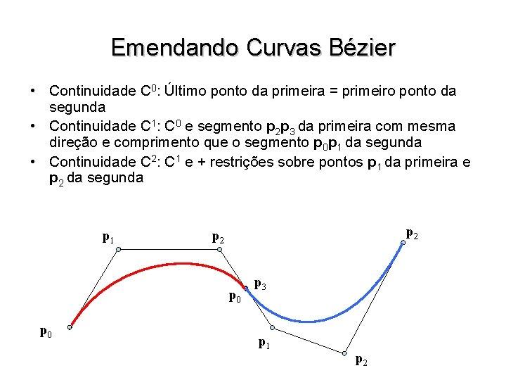 Emendando Curvas Bézier • Continuidade C 0: Último ponto da primeira = primeiro ponto