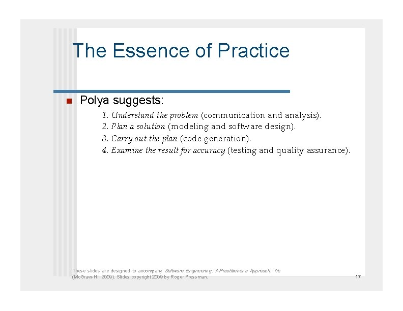 The Essence of Practice  Polya suggests: 1. Understand the problem (communication and analysis).