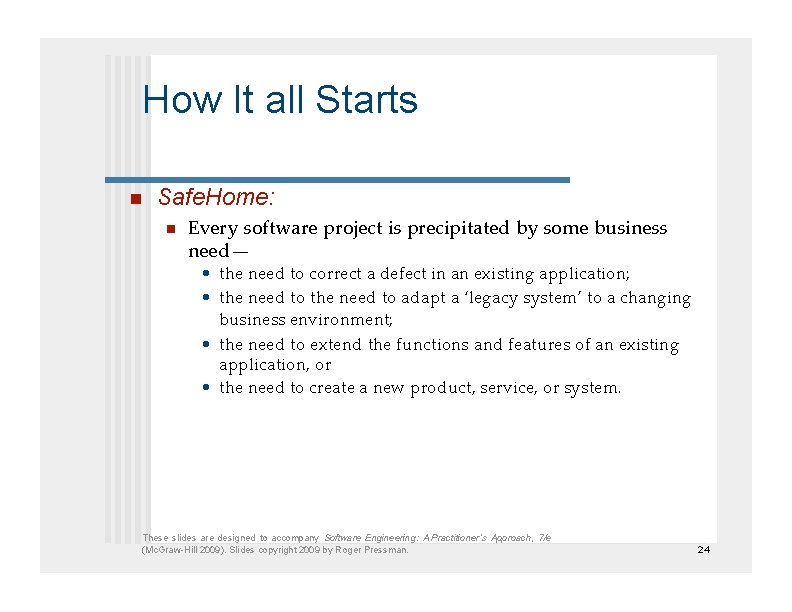 How It all Starts  Safe. Home:  Every software project is precipitated by