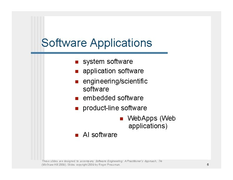 Software Applications     system software application software engineering/scientific software embedded software