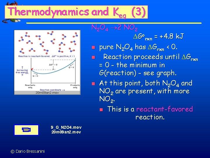 Thermodynamics and Keq (3) N 2 O 4 2 NO 2 Gorxn = +4.