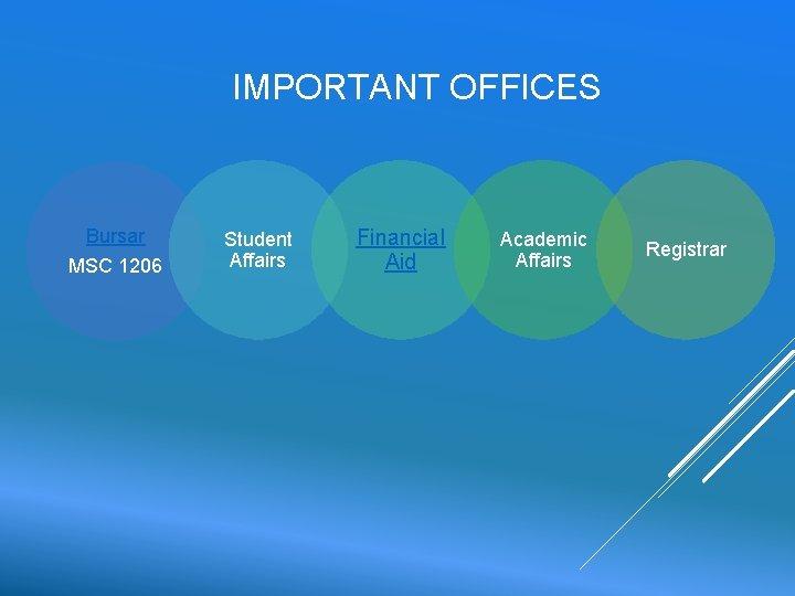 IMPORTANT OFFICES Bursar MSC 1206 Student Affairs Financial Aid Academic Affairs Registrar