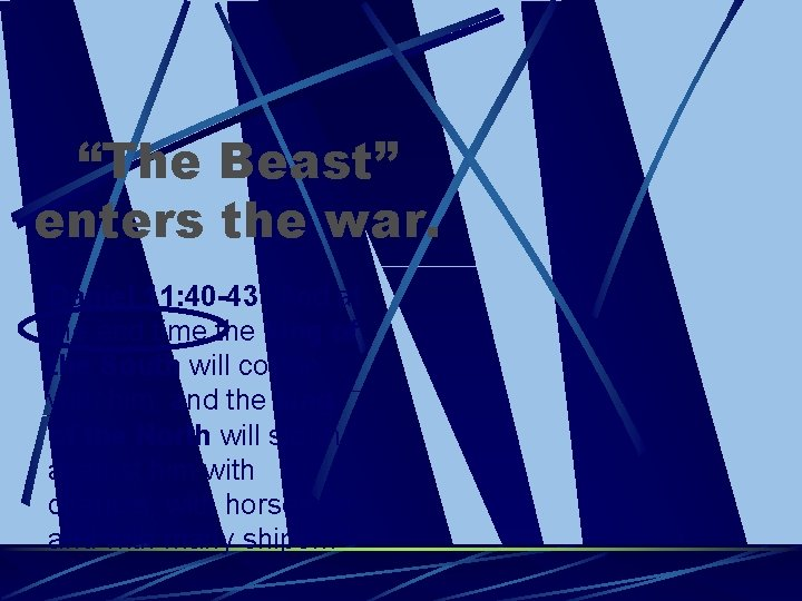 """""""The Beast"""" enters the war. Daniel 11: 40 -43 """"And at the end time"""