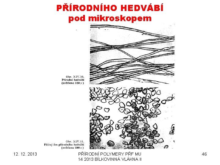 PŘÍRODNÍHO HEDVÁBÍ pod mikroskopem 12. 2013 PŘÍRODNÍ POLYMERY PŘF MU 14 2013 BÍLKOVINNÁ VLÁKNA