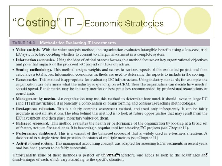 """Costing"" IT – Economic Strategies Chapter 14 11"