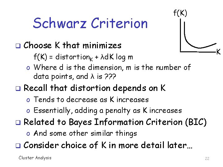 Schwarz Criterion q f(K) Choose K that minimizes K f(K) = distortion. K +