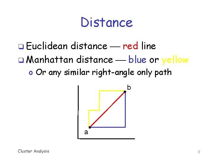 Distance q Euclidean distance red line q Manhattan distance blue or yellow o Or