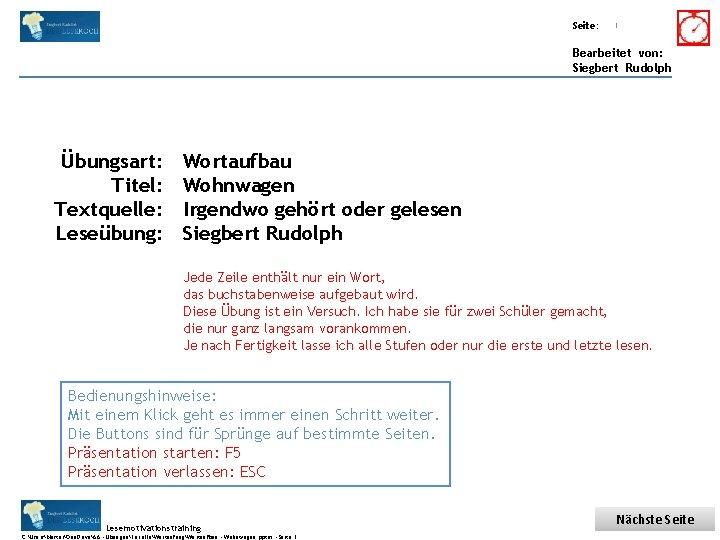 Übungsart: Titel: Seite: Quelle: 1 Bearbeitet von: Siegbert Rudolph Übungsart: Titel: Textquelle: Leseübung: Wortaufbau