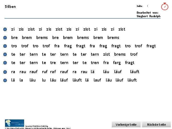 Übungsart: Silben Seite: 3 Bearbeitet von: Siegbert Rudolph zi zis zist zis zi zist