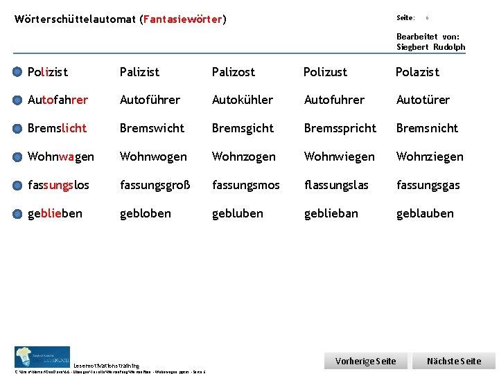 Übungsart: Wörterschüttelautomat (Fantasiewörter) Seite: 6 Bearbeitet von: Siegbert Rudolph Polizist Palizost Polizust Polazist Autofahrer