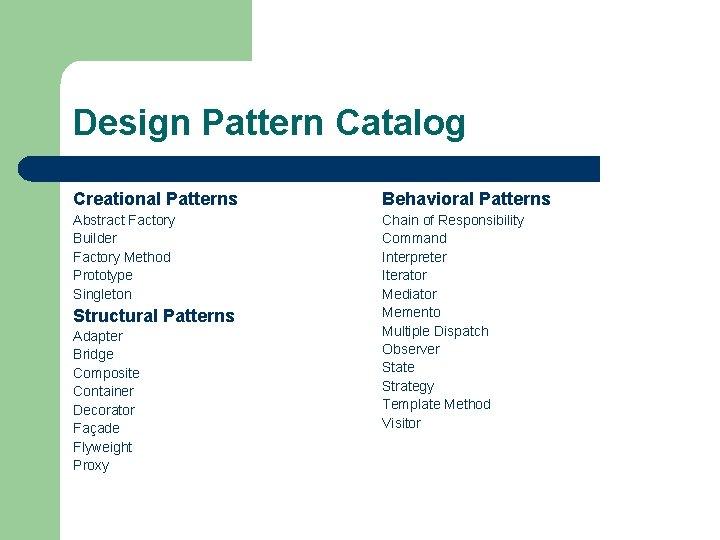 Design Pattern Catalog Creational Patterns Behavioral Patterns Abstract Factory Builder Factory Method Prototype Singleton
