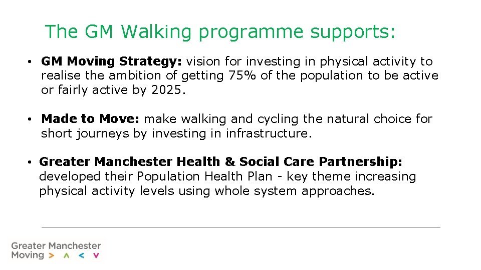 The GM Walking programme supports: • GM Moving Strategy: vision for investing in physical