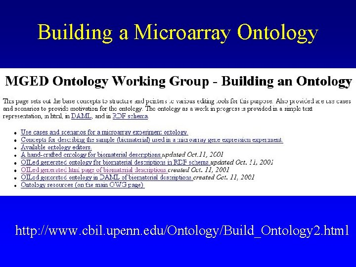 Building a Microarray Ontology http: //www. cbil. upenn. edu/Ontology/Build_Ontology 2. html