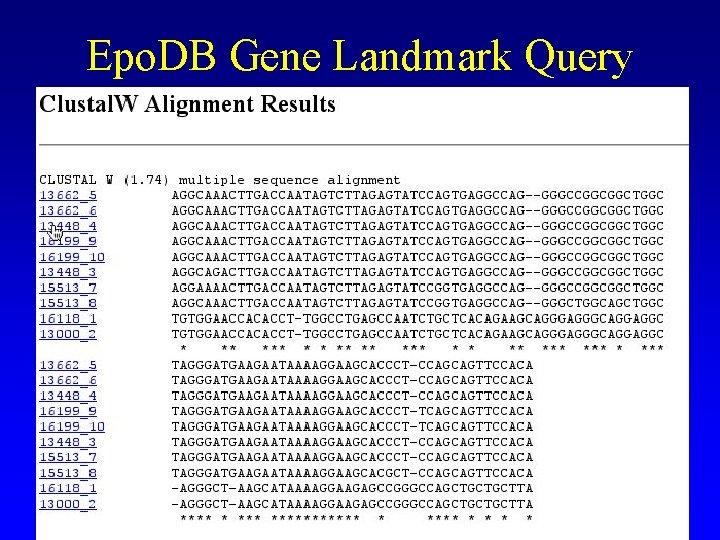 Epo. DB Gene Landmark Query
