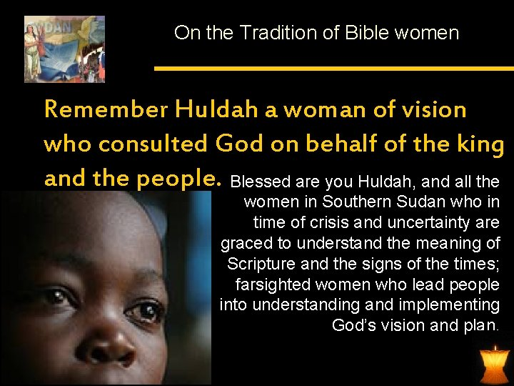 On the Tradition of Bible women Remember Huldah a woman of vision who consulted