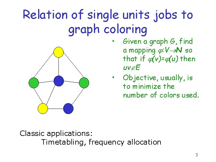 Relation of single units jobs to graph coloring • • Given a graph G,
