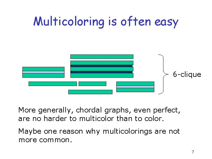 Multicoloring is often easy 6 -clique More generally, chordal graphs, even perfect, are no