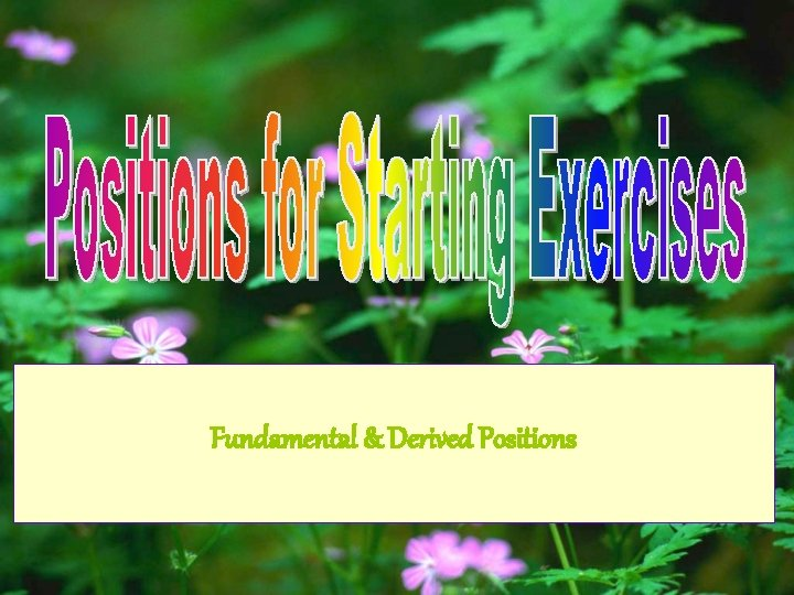 Fundamental & Derived Positions