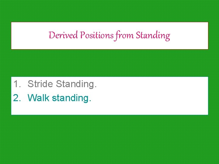 Derived Positions from Standing 1. Stride Standing. 2. Walk standing.