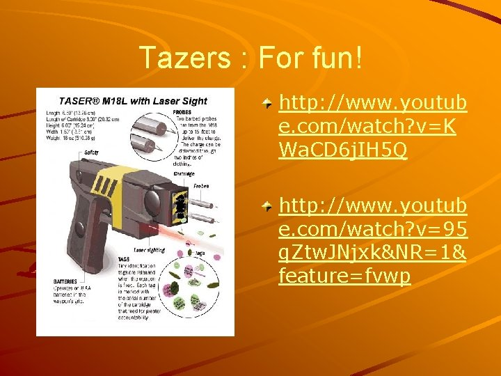 Tazers : For fun! http: //www. youtub e. com/watch? v=K Wa. CD 6 j.