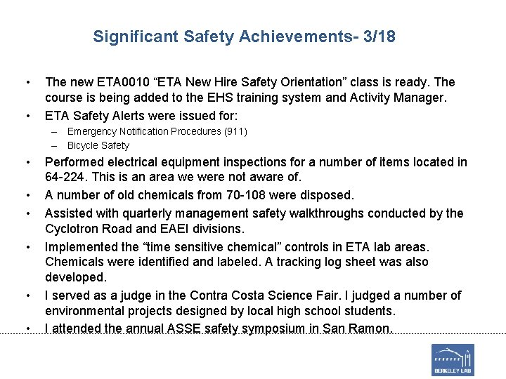 """Significant Safety Achievements- 3/18 • • The new ETA 0010 """"ETA New Hire Safety"""