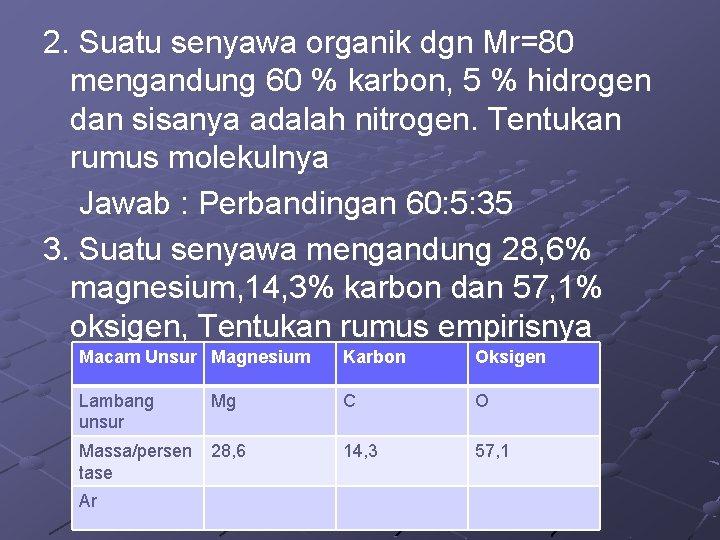 2. Suatu senyawa organik dgn Mr=80 mengandung 60 % karbon, 5 % hidrogen dan